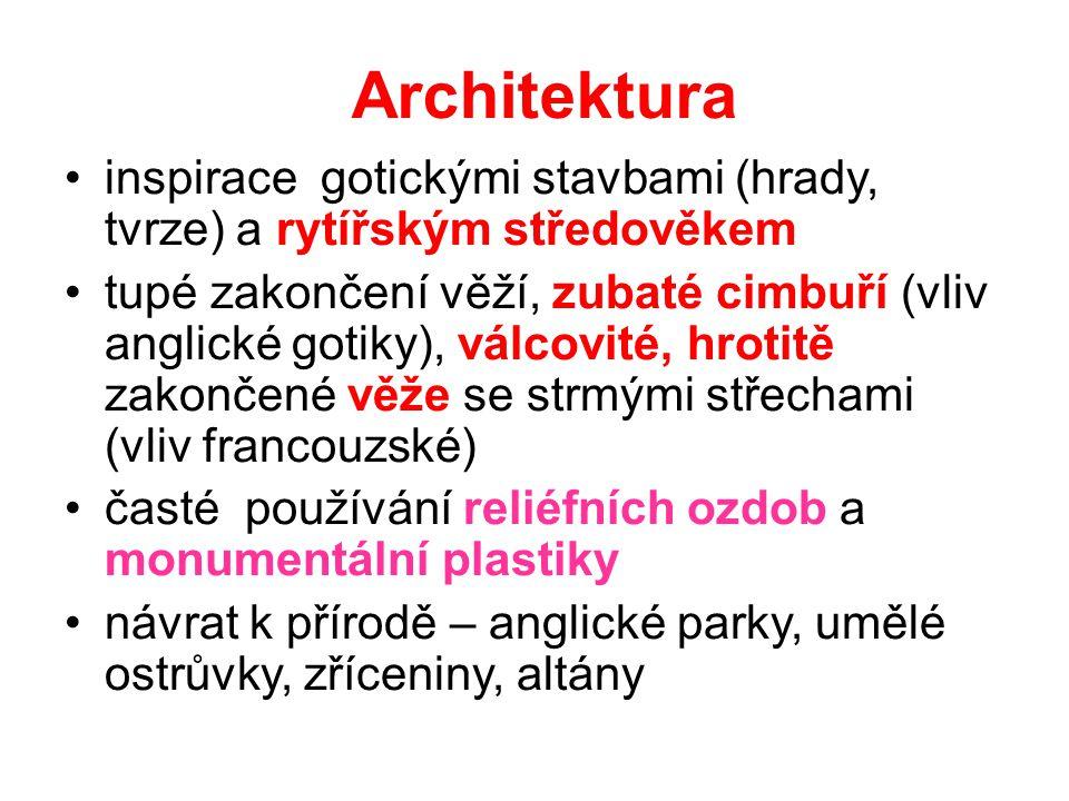 Architektura inspirace gotickými stavbami (hrady, tvrze) a rytířským středověkem.
