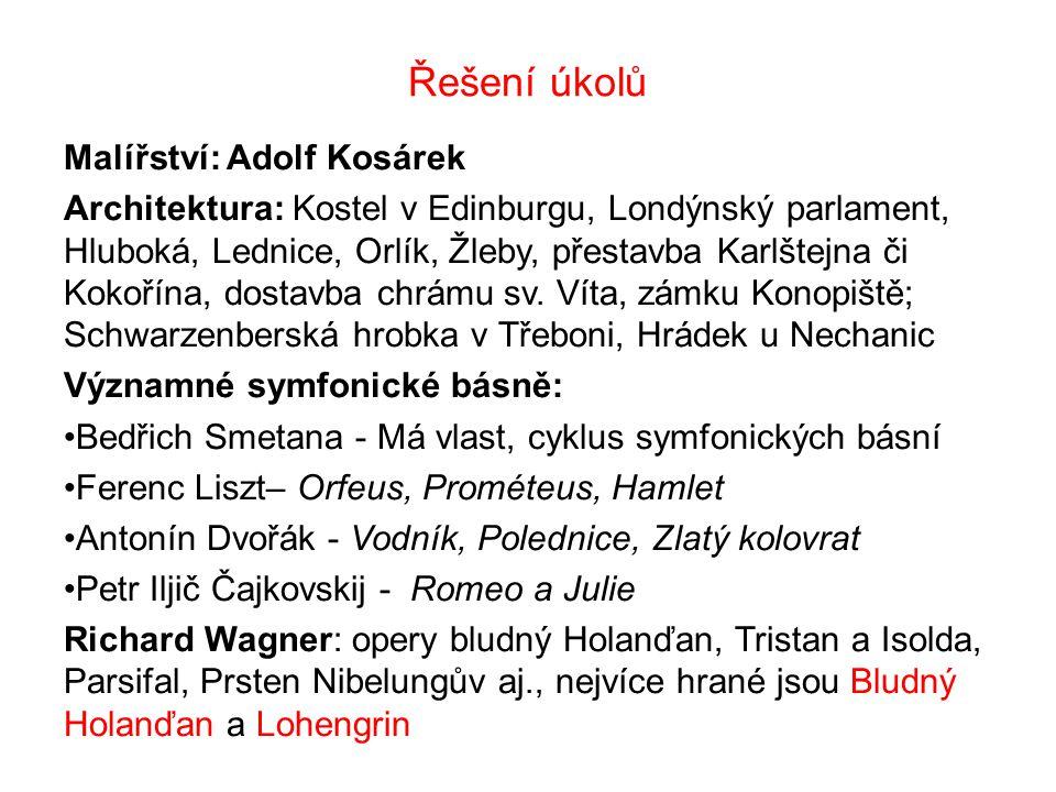 Řešení úkolů Malířství: Adolf Kosárek
