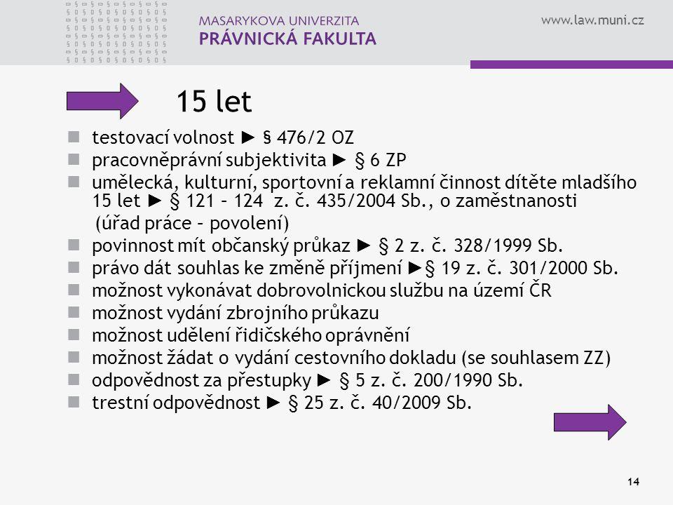 15 let testovací volnost ► § 476/2 OZ