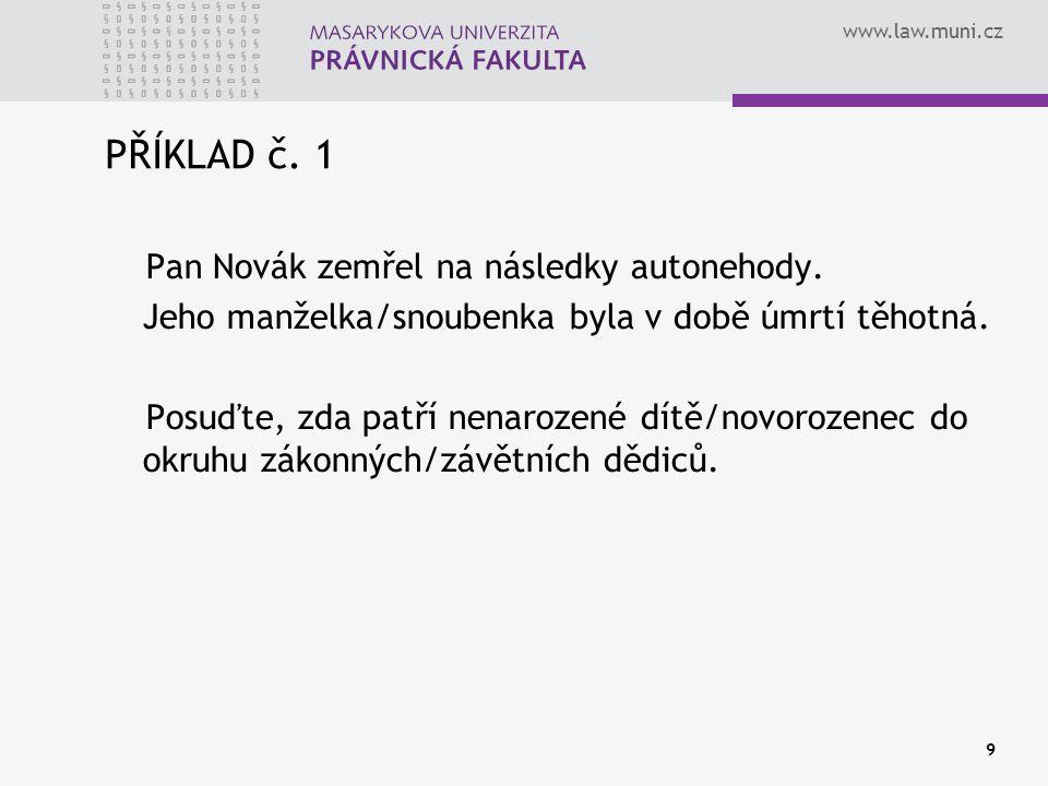 PŘÍKLAD č. 1 Pan Novák zemřel na následky autonehody.