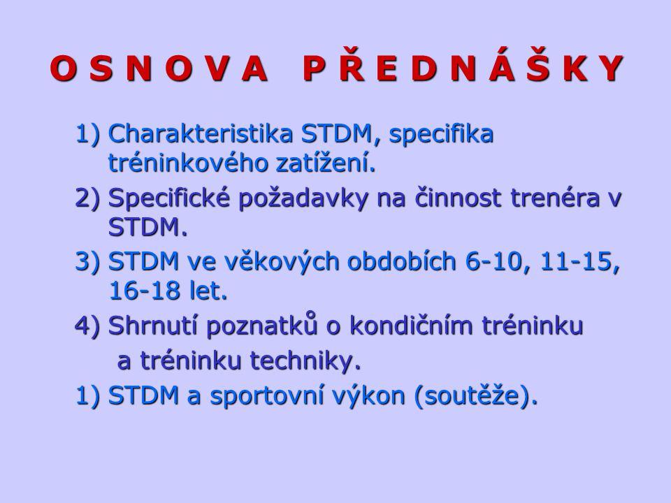 O S N O V A P Ř E D N Á Š K Y Charakteristika STDM, specifika tréninkového zatížení. Specifické požadavky na činnost trenéra v STDM.