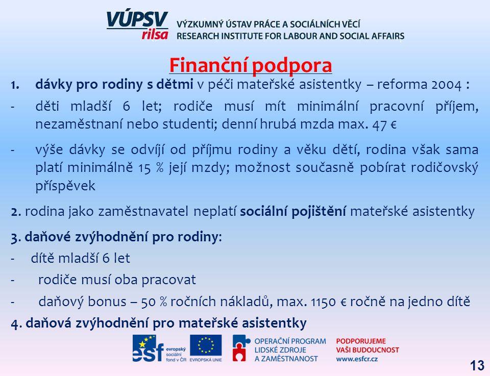 Finanční podpora dávky pro rodiny s dětmi v péči mateřské asistentky – reforma 2004 :