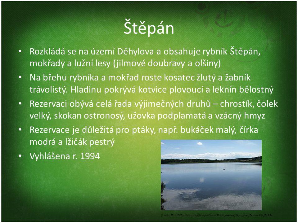 Štěpán Rozkládá se na území Děhylova a obsahuje rybník Štěpán, mokřady a lužní lesy (jilmové doubravy a olšiny)