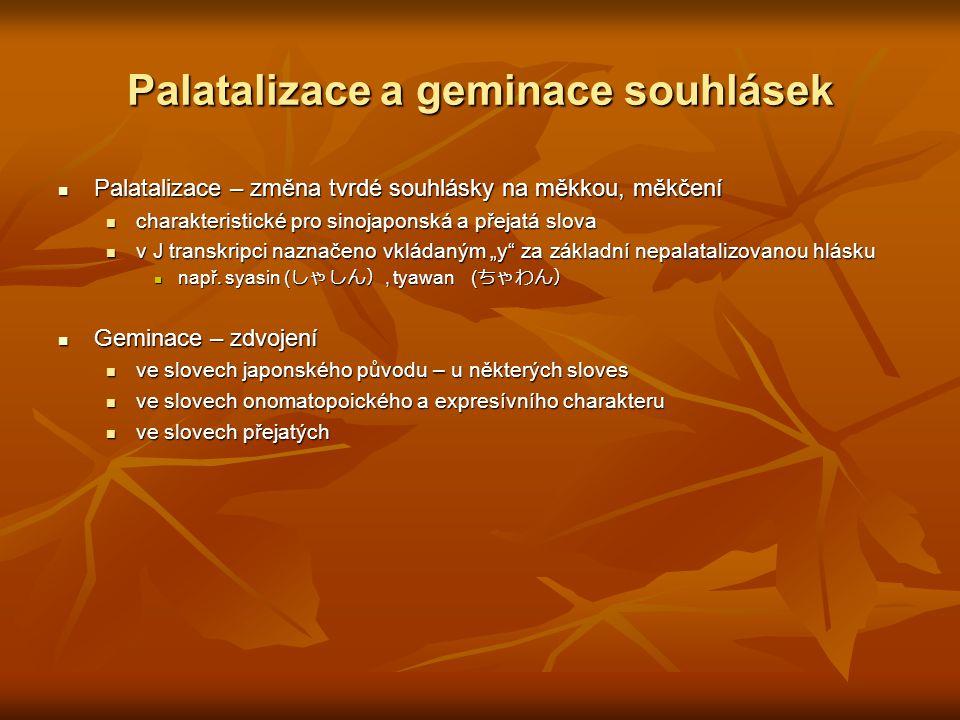 Palatalizace a geminace souhlásek