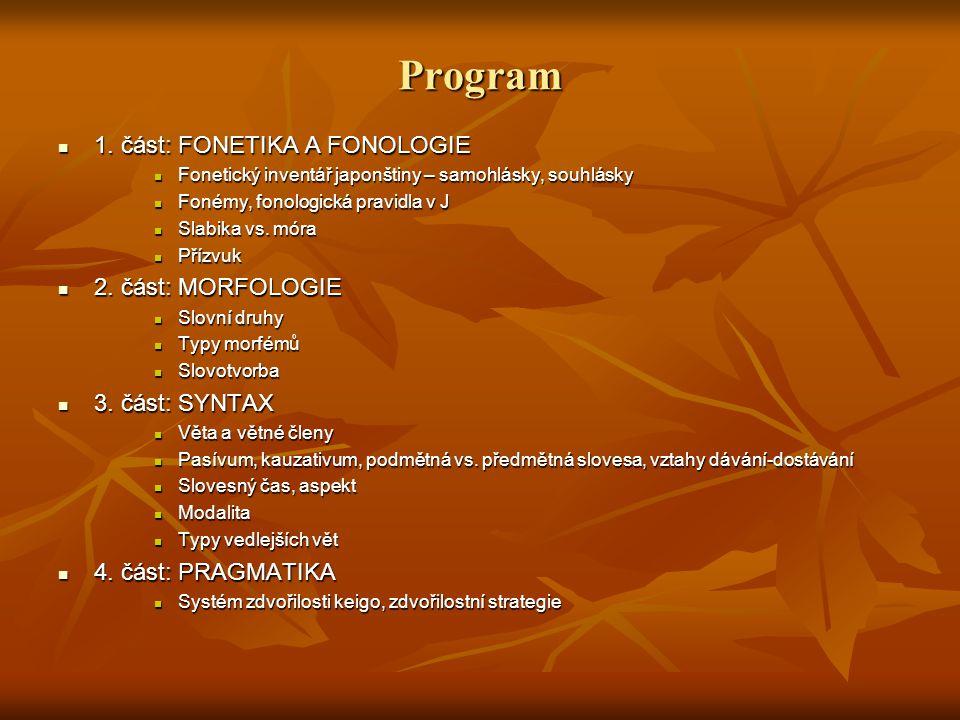 Program 1. část: FONETIKA A FONOLOGIE 2. část: MORFOLOGIE