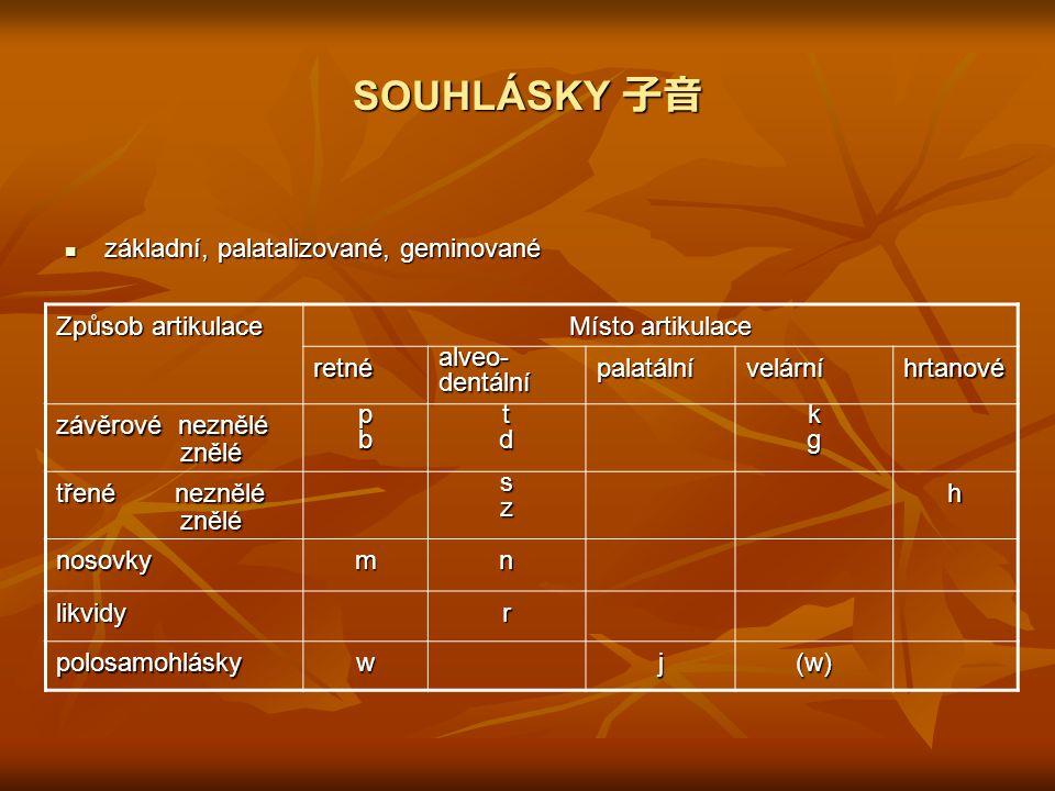 SOUHLÁSKY 子音 základní, palatalizované, geminované Způsob artikulace