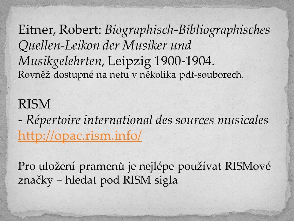 - Répertoire international des sources musicales