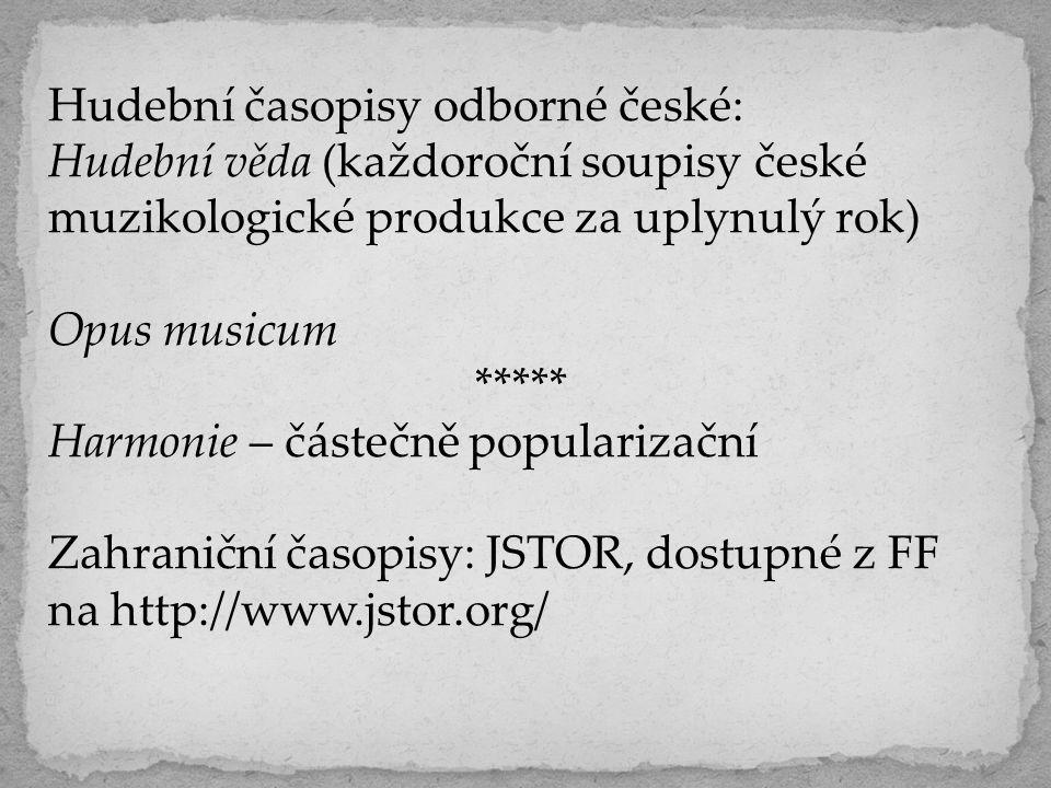 Hudební časopisy odborné české:
