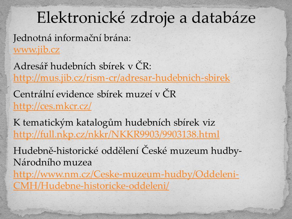 Elektronické zdroje a databáze