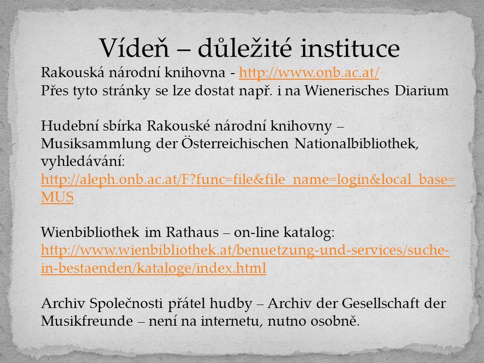 Vídeň – důležité instituce