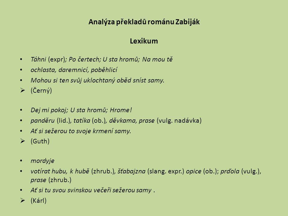 Analýza překladů románu Zabiják Lexikum