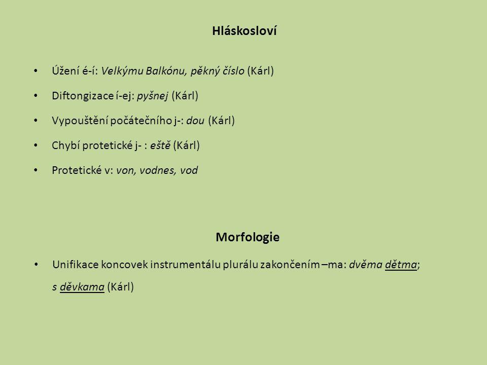 Hláskosloví Morfologie Úžení é-í: Velkýmu Balkónu, pěkný číslo (Kárl)