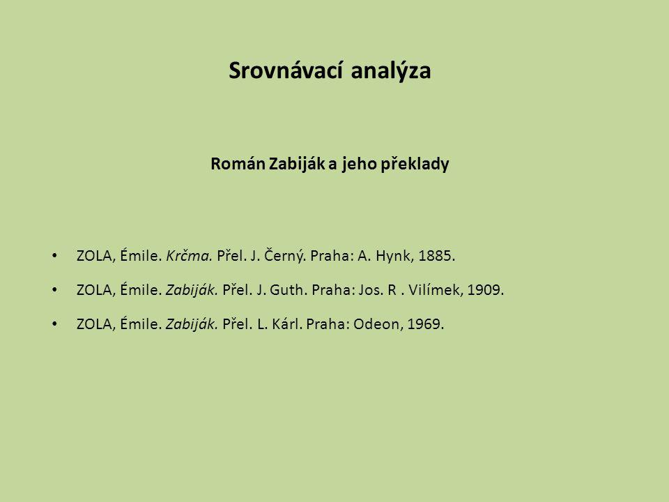Srovnávací analýza Román Zabiják a jeho překlady