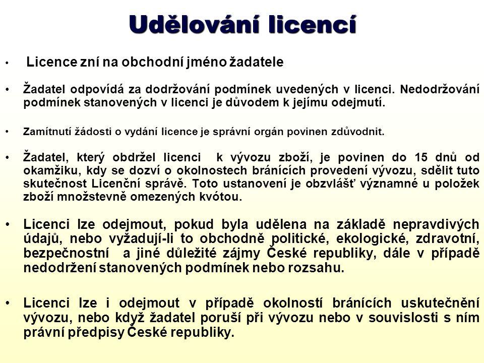 Udělování licencí Licence zní na obchodní jméno žadatele.