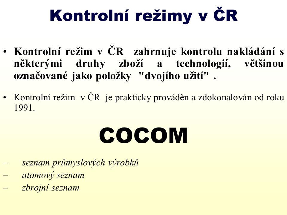 COCOM Kontrolní režimy v ČR