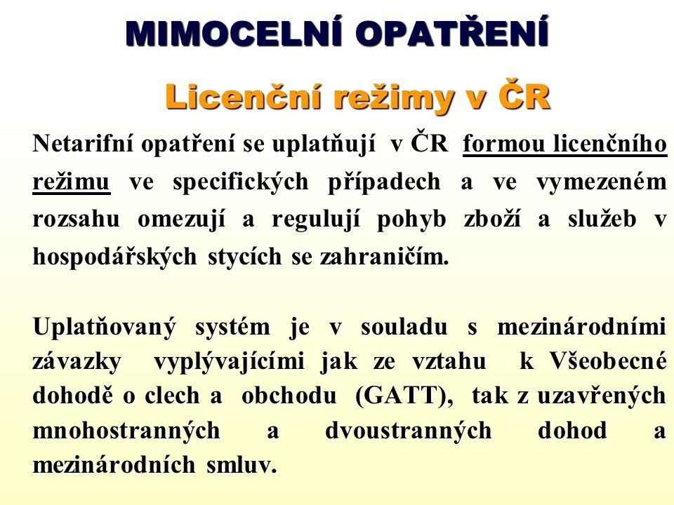 MIMOCELNÍ OPATŘENÍ Licenční režimy v ČR