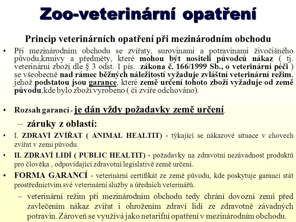Zoo-veterinární opatření
