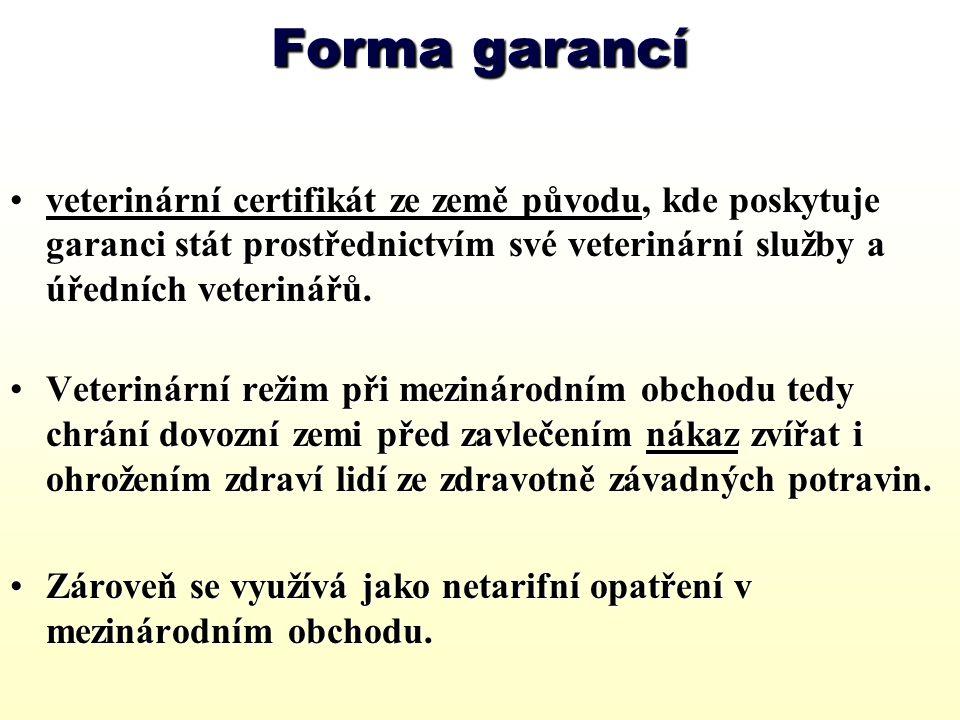 Forma garancí veterinární certifikát ze země původu, kde poskytuje garanci stát prostřednictvím své veterinární služby a úředních veterinářů.