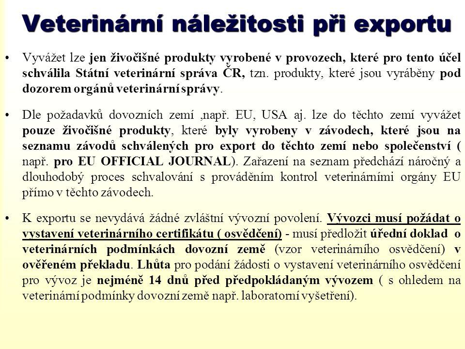 Veterinární náležitosti při exportu
