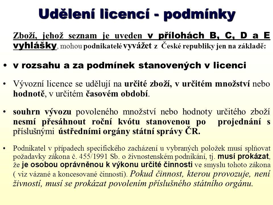 Udělení licencí - podmínky