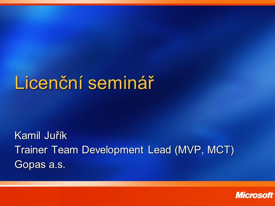 Kamil Juřík Trainer Team Development Lead (MVP, MCT) Gopas a.s.