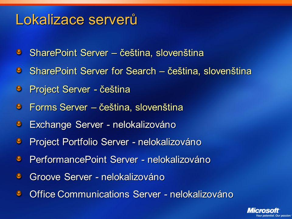Lokalizace serverů SharePoint Server – čeština, slovenština