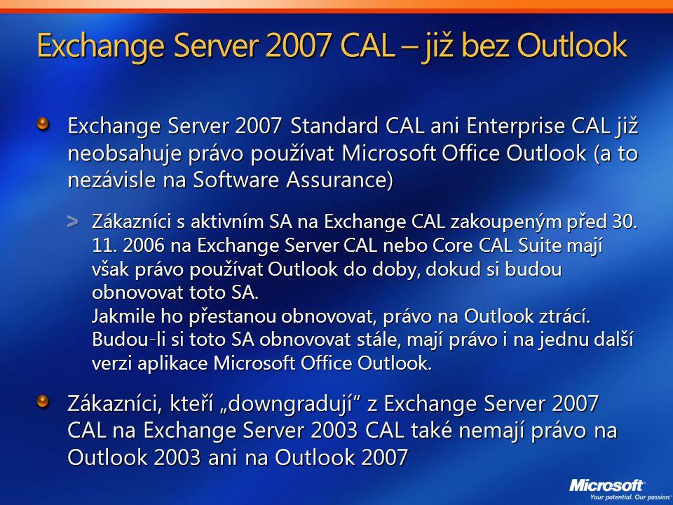 Exchange Server 2007 CAL – již bez Outlook