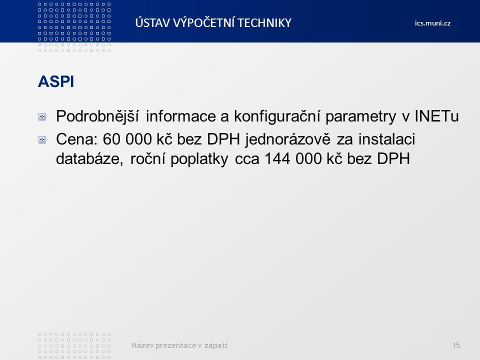 Podrobnější informace a konfigurační parametry v INETu