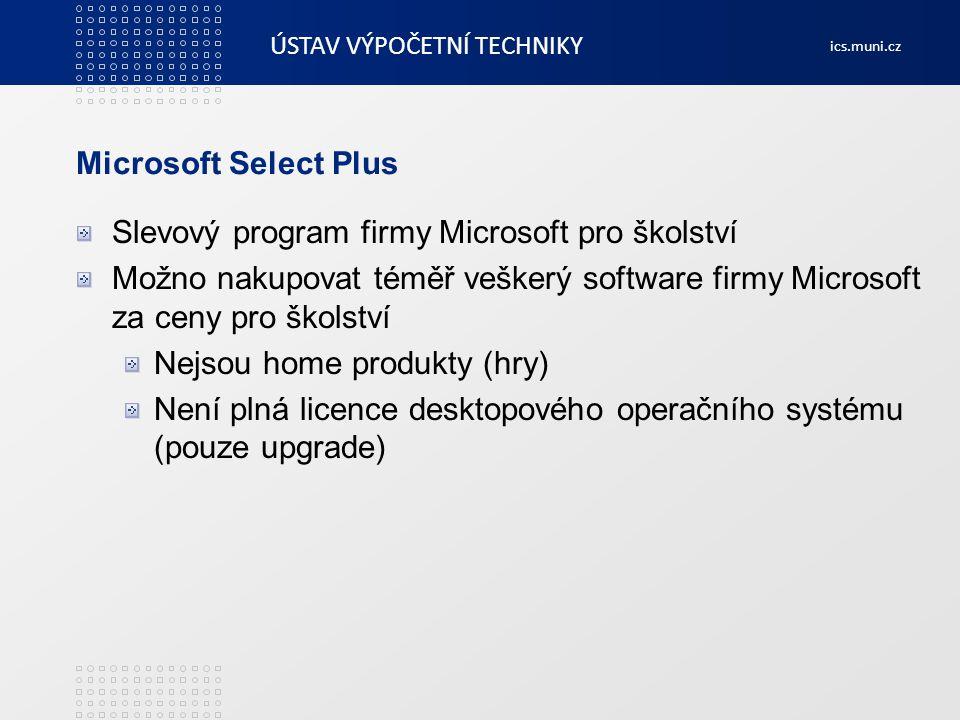 Microsoft Select Plus Slevový program firmy Microsoft pro školství. Možno nakupovat téměř veškerý software firmy Microsoft za ceny pro školství.