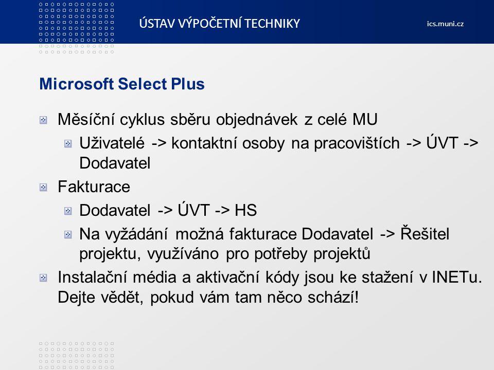 Microsoft Select Plus Měsíční cyklus sběru objednávek z celé MU. Uživatelé -> kontaktní osoby na pracovištích -> ÚVT -> Dodavatel.