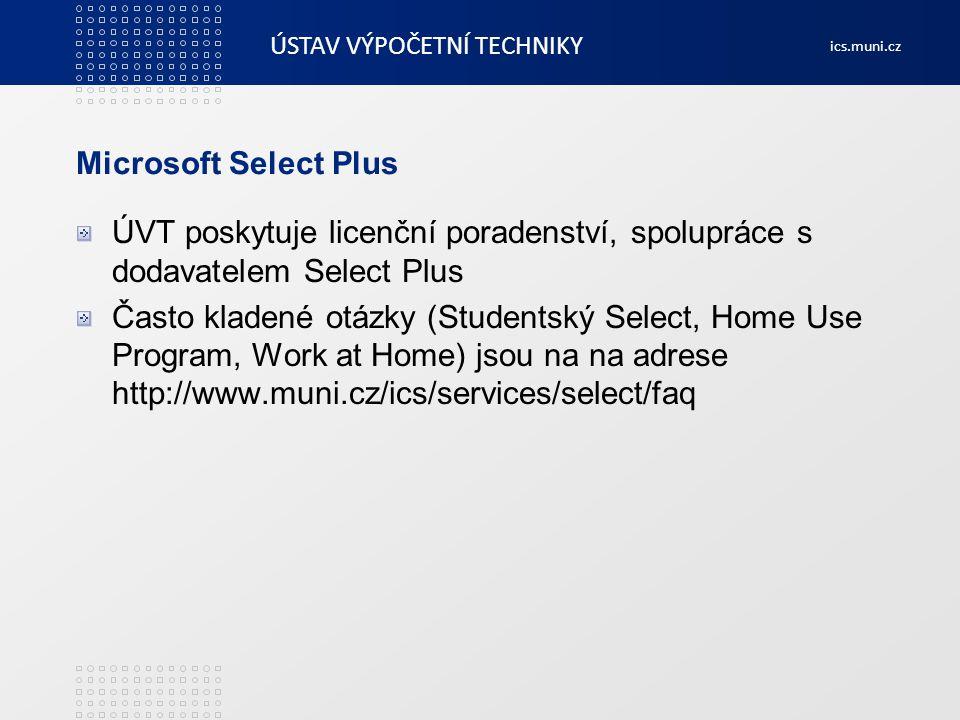Microsoft Select Plus ÚVT poskytuje licenční poradenství, spolupráce s dodavatelem Select Plus.