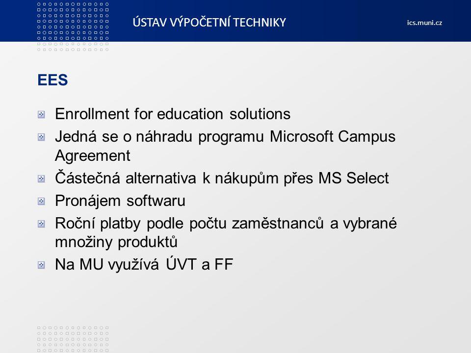 EES Enrollment for education solutions. Jedná se o náhradu programu Microsoft Campus Agreement. Částečná alternativa k nákupům přes MS Select.