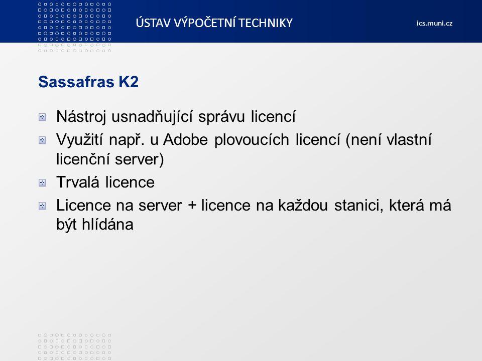 Sassafras K2 Nástroj usnadňující správu licencí. Využití např. u Adobe plovoucích licencí (není vlastní licenční server)