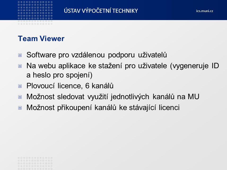 Team Viewer Software pro vzdálenou podporu uživatelů. Na webu aplikace ke stažení pro uživatele (vygeneruje ID a heslo pro spojení)