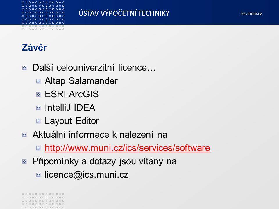 Závěr Další celouniverzitní licence… Altap Salamander. ESRI ArcGIS. IntelliJ IDEA. Layout Editor.