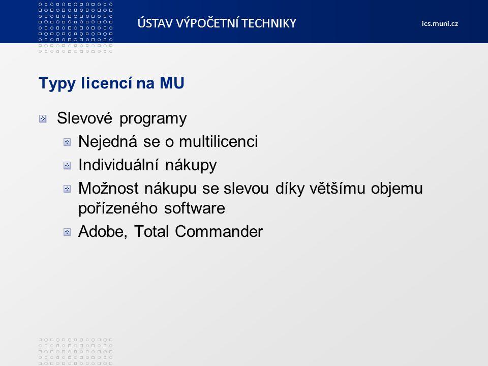 Typy licencí na MU Slevové programy. Nejedná se o multilicenci. Individuální nákupy.