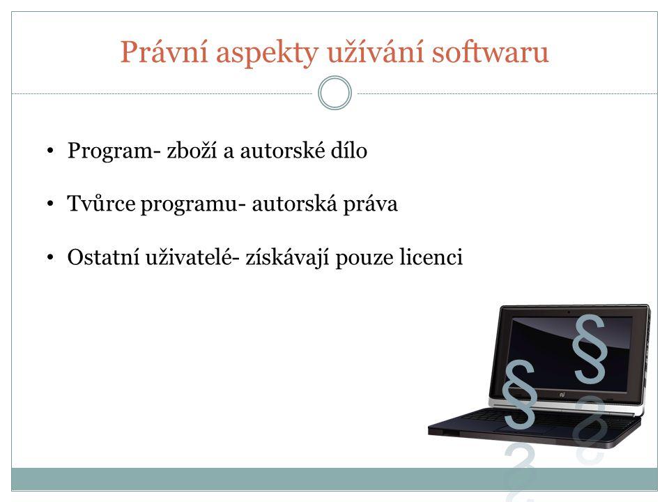 Právní aspekty užívání softwaru