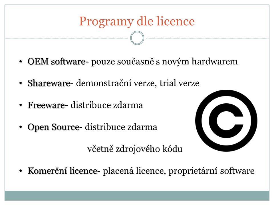 Programy dle licence OEM software- pouze současně s novým hardwarem