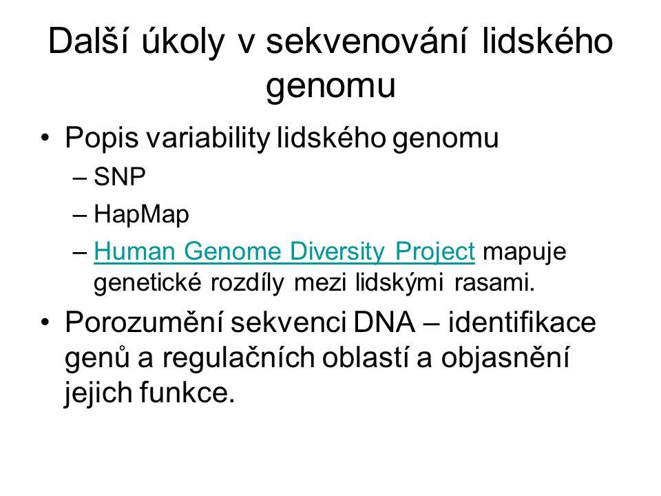 Další úkoly v sekvenování lidského genomu