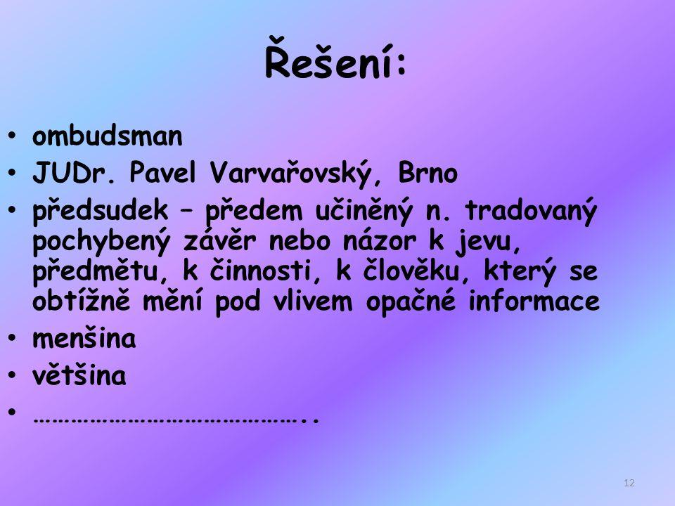 Řešení: ombudsman JUDr. Pavel Varvařovský, Brno