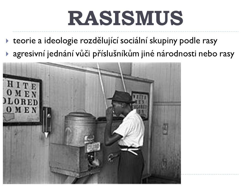 RASISMUS teorie a ideologie rozdělující sociální skupiny podle rasy