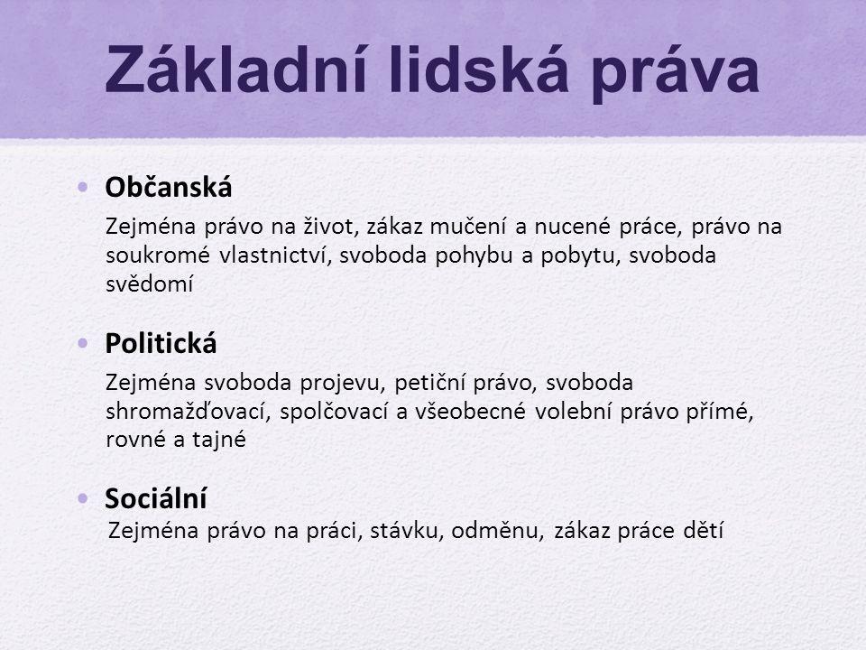 Základní lidská práva Občanská Politická Sociální