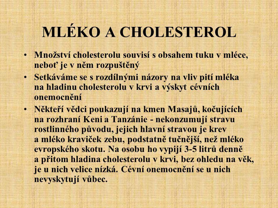 MLÉKO A CHOLESTEROL Množství cholesterolu souvisí s obsahem tuku v mléce, neboť je v něm rozpuštěný.
