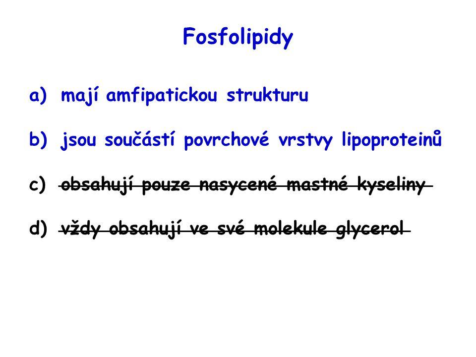 Fosfolipidy mají amfipatickou strukturu