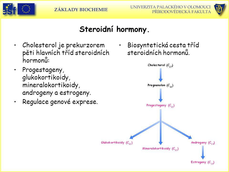 Steroidní hormony. Cholesterol je prekurzorem pěti hlavních tříd steroidních hormonů: