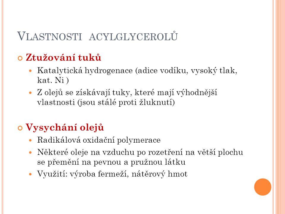 Vlastnosti acylglycerolů