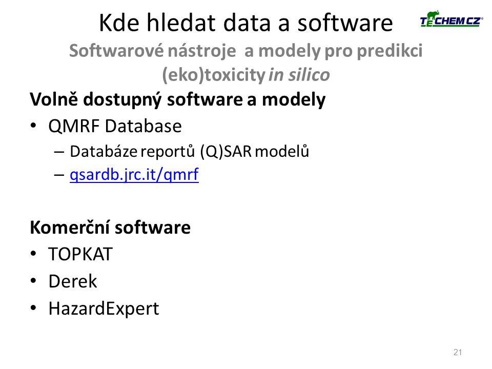 * 16. 7. 1996. Kde hledat data a software Softwarové nástroje a modely pro predikci (eko)toxicity in silico.