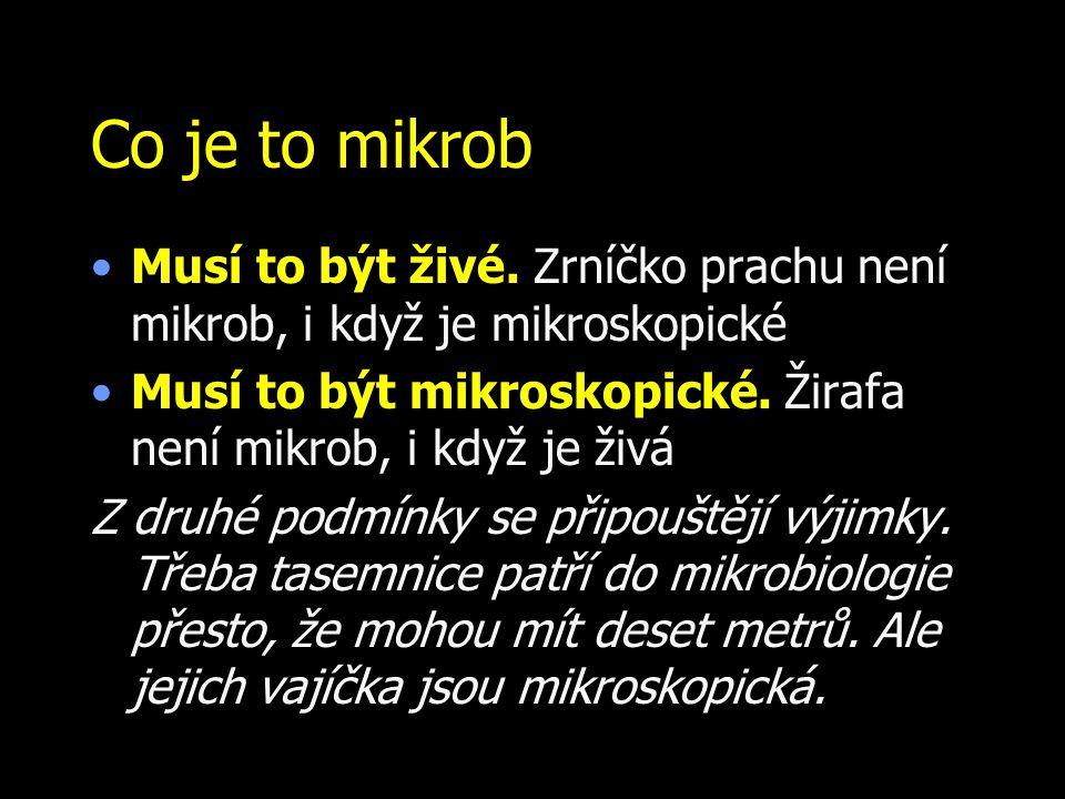 Co je to mikrob Musí to být živé. Zrníčko prachu není mikrob, i když je mikroskopické. Musí to být mikroskopické. Žirafa není mikrob, i když je živá.