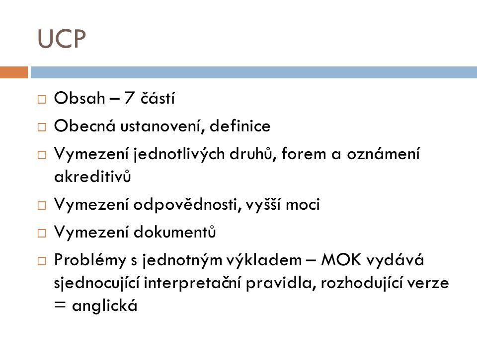 UCP Obsah – 7 částí Obecná ustanovení, definice