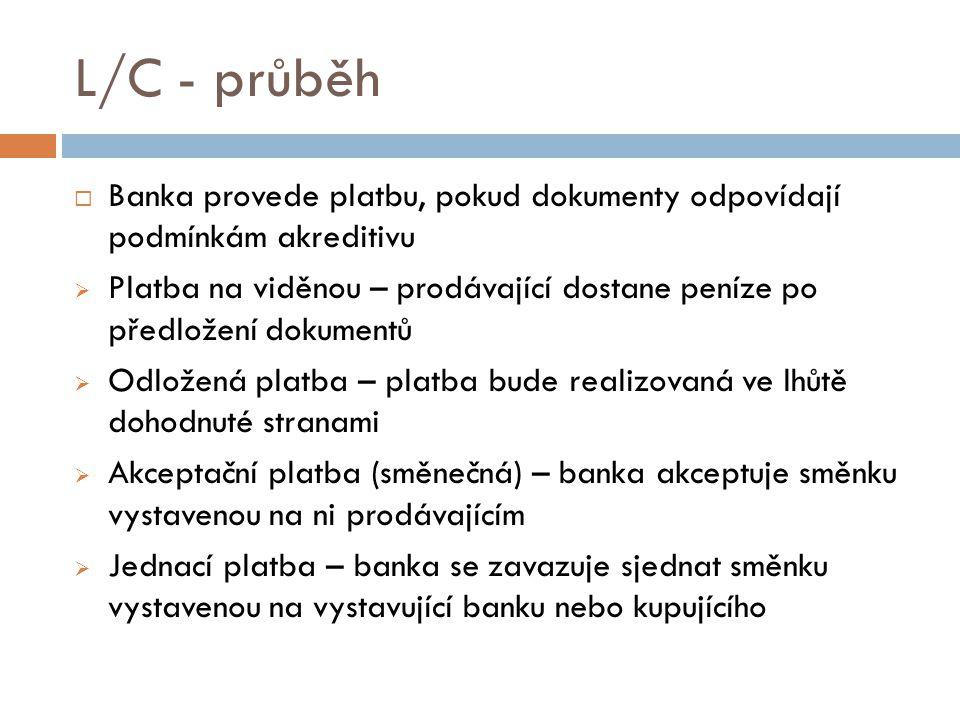 L/C - průběh Banka provede platbu, pokud dokumenty odpovídají podmínkám akreditivu.